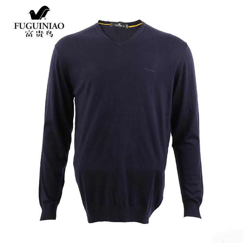 [支持郑州自提](郑州)富贵鸟男士针织T恤衫长袖尖领上衣 1030648009
